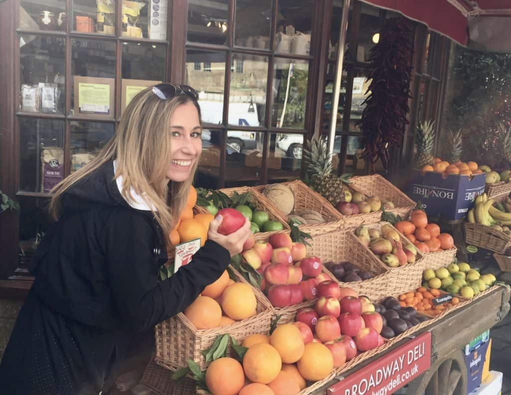 Cindy at fruit stand