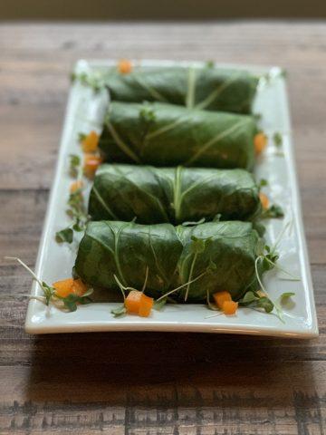 stuffed collard green wraps plated
