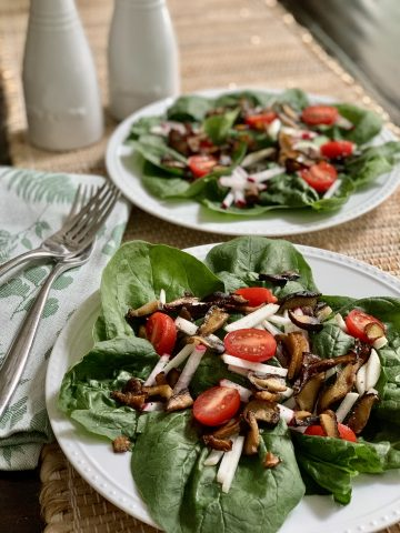 Spinach Salad prepared & plated