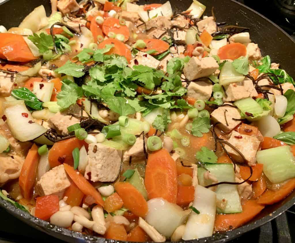 Tofu Veggie Stir-Fry cooking in pan