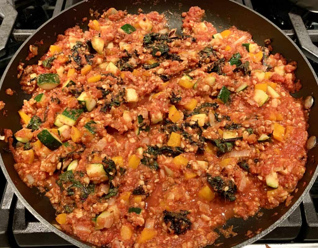 Veggie Tempeh Bolognese in pan - being cooked