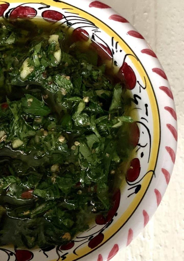 Chimichurri Sauce Recipe in a bowl, close up