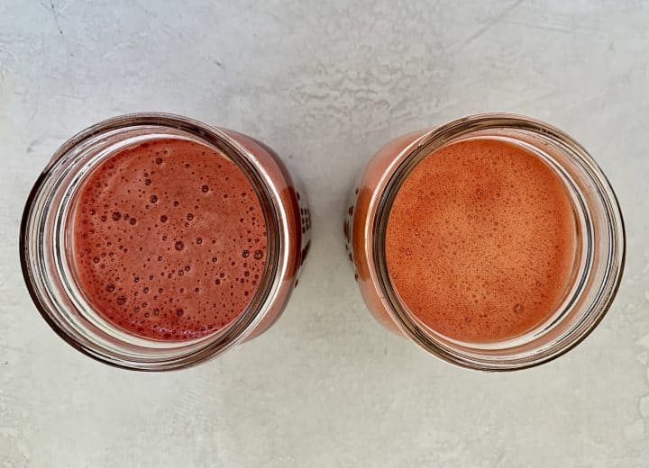 top down view of 2 mason jars with watermelon juice mixes