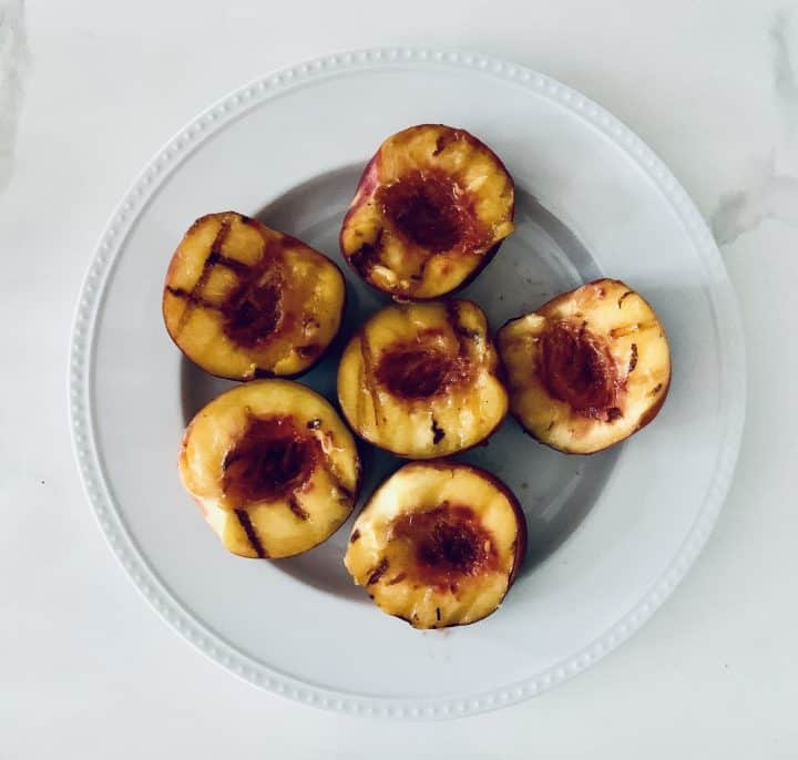 Halved peaches freshly grilled
