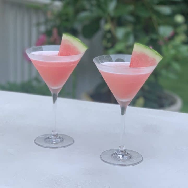 2 watermelon cosmos in martini glasses