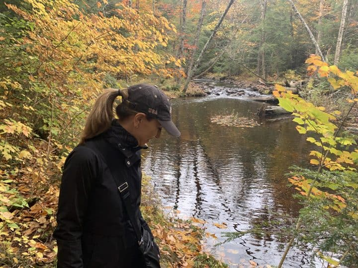 Chef Cindy making Time for Reflection along a stream