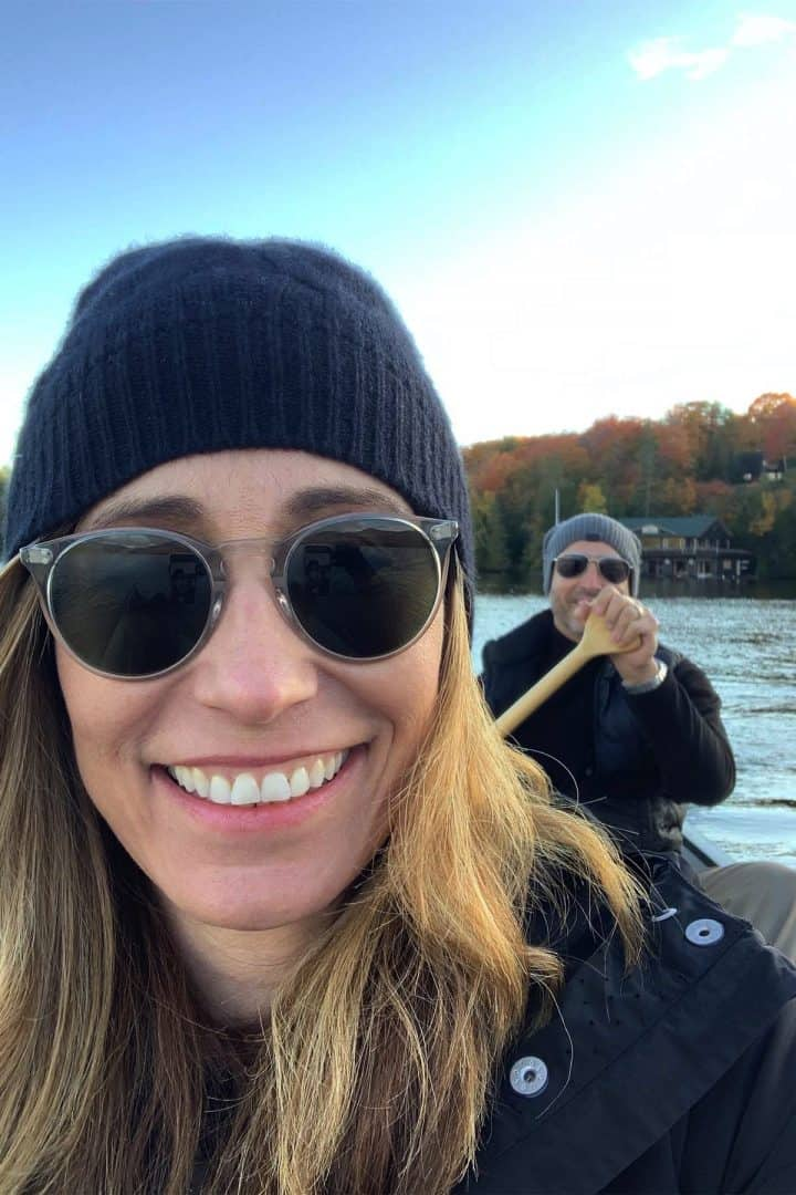Chef Cindy & her husband in a canoe