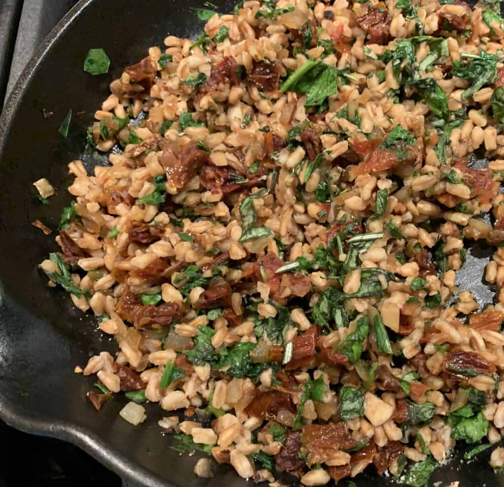 Farro stuffing mix in pan
