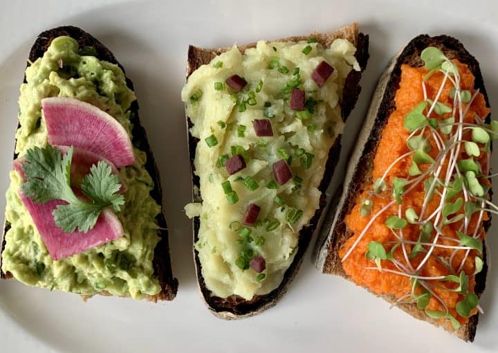 Savory Breakfast Toast Trio together on a plate